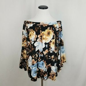 Allison Andrews Floral Off Shldr Ruffle Sleeve Top